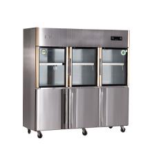 Refrigerador doble de la cocina de seis puertas de la temperatura