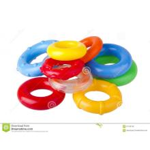 Colored plastic housing for toy rings