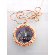 Мини золото круглый жетон с цепочкой (GZHY-ка-008)
