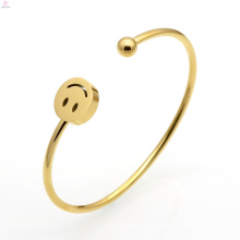 Moon Star Four Leaf Clover Smile Laugh Stainless Steel Cuff Bangle Bracelets
