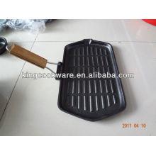 Sartén rectangular de hierro fundido con asa desmontable