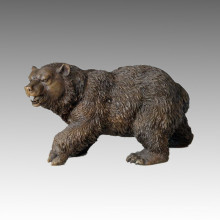 Animal Bronze Sculpture Brown Bear Craft Brass Statue Tpal-008