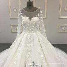 Robe de mariée gonflable super haute qualité 3D fleurs dentelle blanche à manches longues 2018 robe de mariée