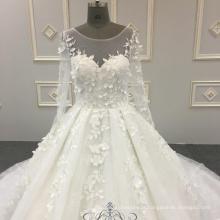 De alta qualidade super puffy vestido de noiva 3d flores brancas rendas manga longa 2018 vestido de noiva