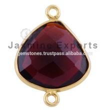 Enlaces del conector bisel de gemas preciosas semipreciosas de oro de Vermeil