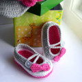 Crochet baby girl shoes Grey Ballerina Baby Shoes
