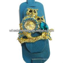 Montres de bijoux populaires en cuir large pour femmes Design de hibou WW49
