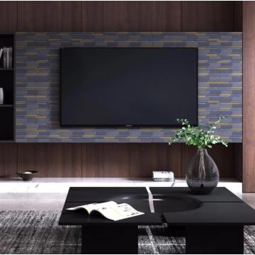 Irregular black mosaic tiles as floor decoration