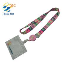 Liebes-Rosa-Abzugsleine mit PVC-Studenten-Identifikations-Kartenhalter für Schuljugendliche