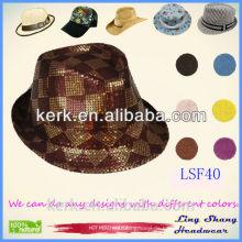 Heiße Verkaufs-Art und Weise populäre Unisex-Mann-Frauen-Weinlese-Art-Gebläse-Jazz-runder Haube-Spitzenhut Trilby Kappe Fedora-Dekor-Sommer-Hut
