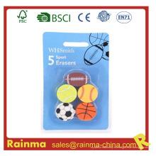 Bola deportiva forma 5 en 1 borradores de goma del juego