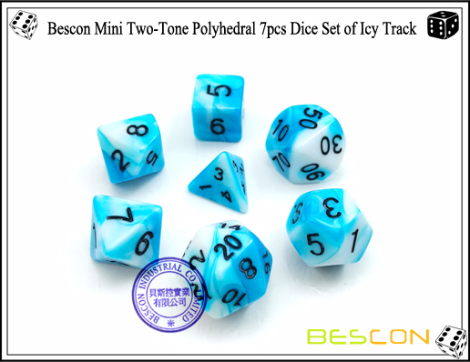 Bescon Mini Two-Tone Polyhedral 7pcs Dice Set of Icy Track-1