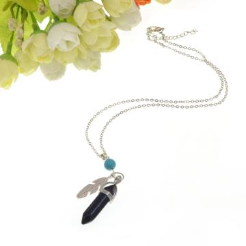 Blue Sandstone Feather Hexagonal Prism Pendant Necklace