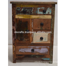 Recycled Scrap Color Wood Drawer Cabinet