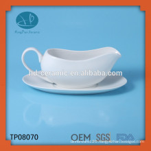 ceramic milk creamer with saucer,white porcelain milk jar,gravy boat