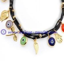 Good Luck Bracelet Multi Color Vermeil Brown Leather Evil Eye Charm Bracelet
