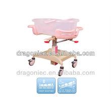 DW-CB08 cama de bebé ajustable de acero epoxi para recién nacido en hospita