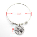 Round Customerized Text Bangle Stainless Steel Bracelet Fashion Jewelry