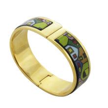 Alibaba al por mayor. 2014 moda, brazaletes chapados en oro esmalte con forma de colores