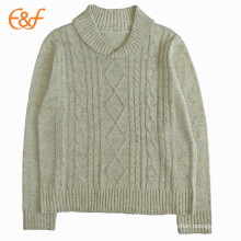 Mens Nepyarn Cream Cable Knit Jumper Sweaters