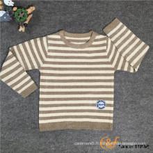 Pull de style basique à manches longues de style de bande de glissement de couleur pour les enfants