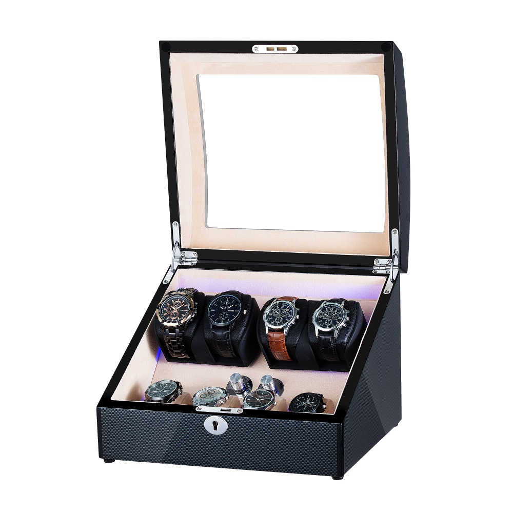 Popular curved black wooden watch winder