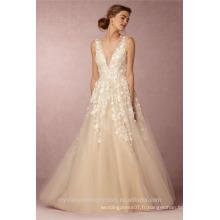 Dernières robes Alibaba Elegant V Neck Flowers Champage White A Line Robes de mariée Vestidos de Novia avec Pearls LW253B