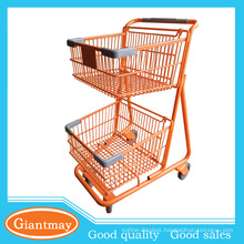 orange powder coated tow layers basket shopping wheel cart
