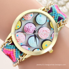 2015 new arrival handmade wooven fabric womens vogue watch