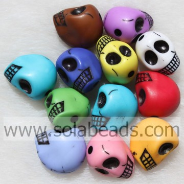 Chunky 14*18MM Pearl Skull Head Shaped Candy Beads Charm