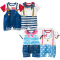 2016 new design 100% cotton gentlemen baby clothes romper newborn wholesale