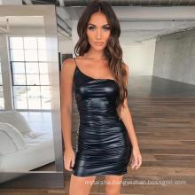 Ins Style European and American Nightclub Shiny Fabric Skirt Sexy Slim Strap Bag Hip Ladies Dress