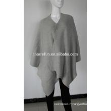 2015 mode chaud style 7gg nervuré tricoté 100% pure cape de cachemire