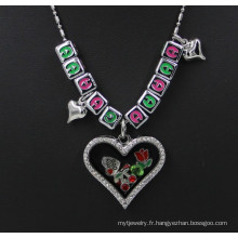Customized Silver Memory Crystal Letter Charms Pendentif en verre de Locket