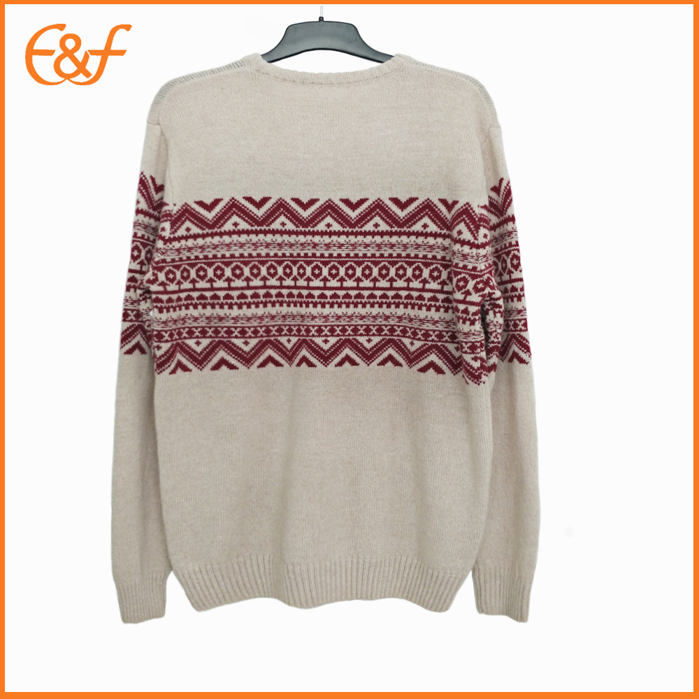 Jacquard Sweater Pullover Merino Wool Design for men