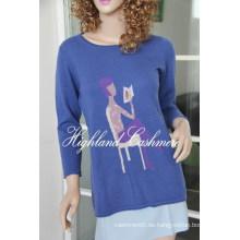 Damen Rundhals Pullover mit Intarsien