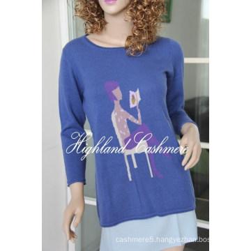 Ladies′ Crew Neck Pullover with Intarsia