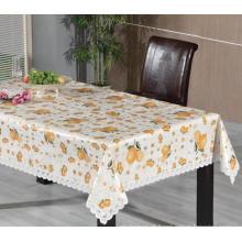 Toalha de mesa impressa de PVC com borda do laço (TJ0248)