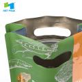 Bolsa de comida para mascotas de plástico de fondo plano con ventana