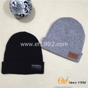 Plain Cotton Blank Double Layer Knitted Beanie