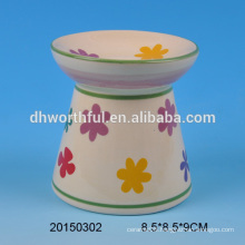 2016 hot selling ceramic decorative oil burners with flower painting