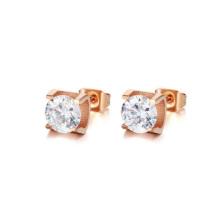Brincos de ouro rosa stud, aço inoxidável cristal claro ear studs jóias