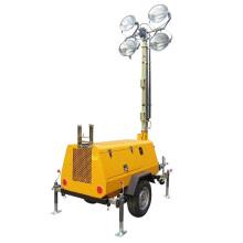 Torre de luz de holofotes de motor Diesel portátil