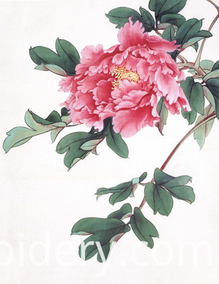 Hand Embroidered Peony