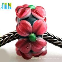 fabricación de joyas murano pavimenta flor roja cristal de murano cuentas de gran agujero