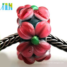 murano jewelry making pave red flower lampwork glass big hole beads