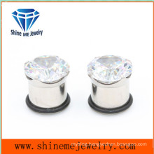 Fashion Single Zircon Single Flare Ear Plug (SPG1825)