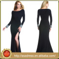 JQ03 High Neck Blcak Middle Aged Woman Party Gowns Side Split Long Sleeve Plus Size Long Sleeve Prom Dresses