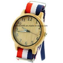 2017 relógio de madeira intercambiáveis nylon banda cintas homens esportes relógios
