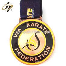 Medalla de la Federación de los deportes del metal del diseño del karate del bronce de la aleación del cinc de encargo